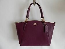 Coach Small Kelsey Satchell Pebble Leather in Gold/Plum - F36675