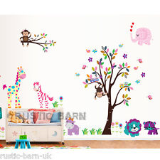 Home Decor Vinyl Kids Wall Sticker Art Decal Colourful Animals with Tree Large