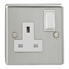 British General Stainless Steel Single Switched 1 Gang Socket Double Pole 13 Amp