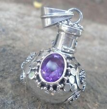 925 Sterling Silver-IL90-Balinese Perfume Bottle/Locket Pendant & Amethyst Cut