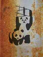 Banksy Fighting Pandas Chairs A4 Sign Aluminium Metal