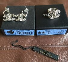 Authentic Chanel  CC Earrings & Ring Set Jewelry Silver Tone W Box