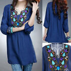 New Elegance Womens Fashion Shirt 3/4 Sleeve Casual Cotton Top Blouse Five Color