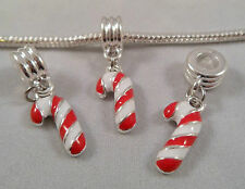 NEW Silver Plated Christmas Candy Cane Dangle Beads Fits European Charm Bracelet