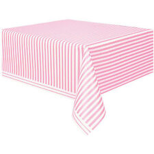 LOVELY PINK AND WHITE STRIPES PLASTIC TABLECOVER ~ Party Supplies Birthday Cloth