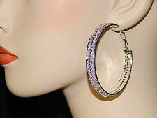3 Color Available 2 Row Rhinestone Crystal Beautiful Party Hoop Earrings
