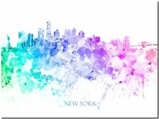 "New York City Skyline USA watercolor Abstract Canvas Art Print 24""X18"""