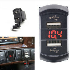Dual USB Car Suv Marine Boat Switch Jack Red LED Power Socket Charger Voltmeter