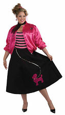 Womens Plus Size Poodle Outfit Costume Black & Pink Poodle Skirt 50's Sock Hop