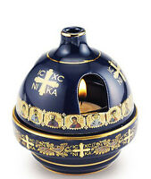 All Saint Greek Icon 24KT Gold Accent Votive Lamp & Incense Burner 2 on 1 WOW!!