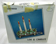 "VINTAGE ""UNION ELECTRIFIED CHRISTMAS LOG AND 3 CANDLES"" ORIGINAL WORKS GREAT"