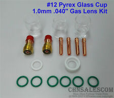 """17 pcs TIG Welding Stubby Gas Lens #12 Pyrex Cup Kit  for Tig WP-17/18/26 .040"""""""