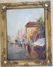Pisani -beautiful original oil on canvas, Market in Naples. painting is signed
