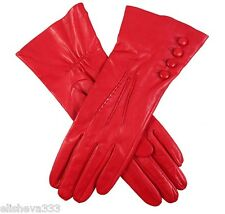 'Mr. Selfridge' Dents Red Leather Gloves in Berry Red with Buttons Size 7