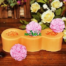 Ball Shape Rose Flower Silicone Candle Mold Soap Moulds DIY Chocolate Candy
