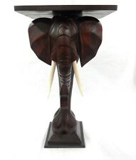 MAHOGANY WOOD ELEPHANT END SIDE TABLE PLANT STAND HAND SAFARI AFRICAN DECOR ART