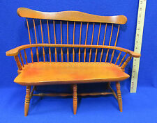 "Wooden Doll Bench Seat Chair Windsor Style Double Seated Wood Bench 12""H x 16""L"