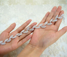 Splendido Crystal Da Sposa Applique Diamante Trim Perline Motif WEDDING APPLIQUE