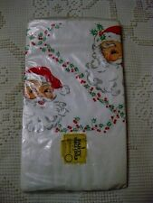 """VINTAGE HOLIDAY CHRISTMAS SANTA PAPER TABLE CLOTH COVER BEACH PRODUCTS 54"""" X 96"""""""