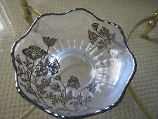 Vintage Bowl Dish footed Silver overlay flanders poppy flowers 1950s NEW ab