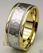 10K MENS TWO TONE GOLD WEDDING BAND RING HAMMERED 7.5MM