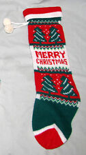 Vintage Knit Christmas Stocking Merry Christmas Pom Poms Garland Mantel 18.25""