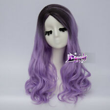 Lolita 50cm Heat Resistant Black Mixed Light Purple Women Cosplay Wig + Free Wig