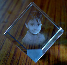 Personalized Square Crystal Cube High End Laser engraved 3D with your own photo!