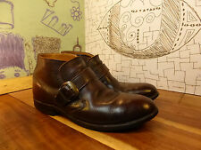 Knapp Shoes Brown Leather Monk Strap Ankle Boots Men's 8D Vintage #44181