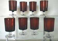 "8 Vintage Cristal D Arques Ruby Red Clear Stem Cavalier 4""  Glasses"
