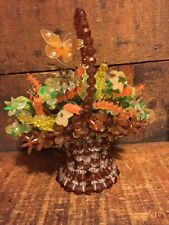Beautiful Hand Made Beaded Basket Flower Stems Butterfly Plastic Beads