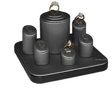 HOLDS 6 RINGS DISPLAY SET GRAY LEATHER RING DISPLAY SHOWCASE RING DISPLAY SET