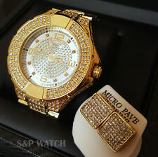 Men Iced Out Bling Hip Hop GOLD PT Simulated Diamond Dress Watch & Earrings Set