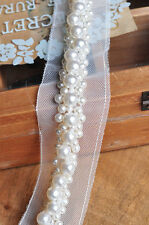 White Beaded Lace Trim Rhinestone Pearl Lace Trim For Wedding Bridal Belt Dress