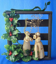 vintage corn husk doll Christmas holly shadow box decoration wall hanging