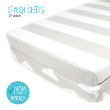 """Fitted Cotton Grey Pack n Play Sheet Set - 2 Pack """"Stripes & Clouds"""" by Mumby"""