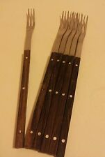 Set of 6 Le Creuset long rosewood handled fondue forks French mid century