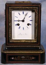 Antique French Inlay Bronze and Wood Mantel Carriage-Like Clock by Leroy