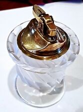 Lalique France SMYRNE CIGARETTE TABLE LIGHTER & CRYSTAL STAND - SIGNED