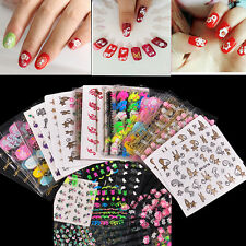 50 Sheets Nail Stickers Mixed Decals Transfer Manicure Tips 3D Nail Art Deco
