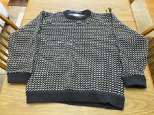 L.L. Bean Vintage Mens L Norwegian Birdseye Navy Blue Crewneck Wool Sweater VGUC