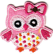 OWL w/PINK HAIR BOW & DOTS/Iron On Embroidered Applique/Cute Critters/Birds