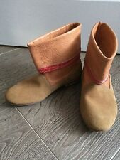 Girls Tan brown beige Suede Leather pixie ankle boots shoe Size 33 Uk 1