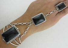 BIG Extra High Quality Sterling Silver & Black Onyx Slave Bracelet - Ring Size 6