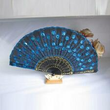 Embroidered Peacock Tail Folding Sequins Hand Held Fan Wedding Party Decor Fan