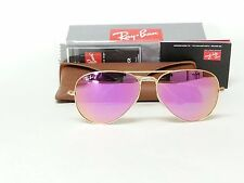 NEW RayBan Aviator RB3025-112/4T-58 Gold/Cyclamen Pink Mirror Leather case ITALY