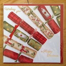 Christmas Crackers New Year Greeting Note Card *NEW* Ribbon (C3)