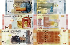 SIRIA - Syria Lot Lotto 3 banconote 50/100/200 pounds FDS - UNC