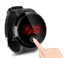 Fashion Waterproof Mens Watch LED Touch Screen Date Silicone Wrist Watch Black