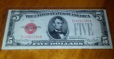 *1* 1928 F 5$ RED SEAL! OLD US PAPER MONEY ! F/VF-RED SEAL ! WIDE I NICE CRISP !